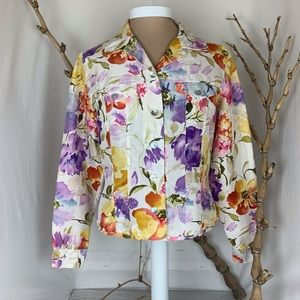 Transitions Floral Silk Light Weight Jacket